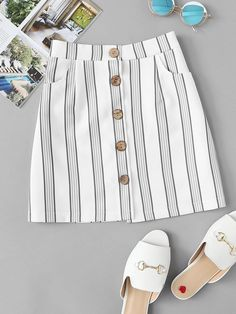 Casual A Line Striped Sheath Mid Waist Multicolor Above Knee/Short Length Striped Button Through Skirt Long Skirt Outfits, Dressy Dresses, Lounge Dresses, Dresses Uk, Evening Dresses, Cute Summer Outfits, Trendy Outfits, Cute Outfits, Trendy Clothing