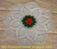 Red center flower doily with diagram