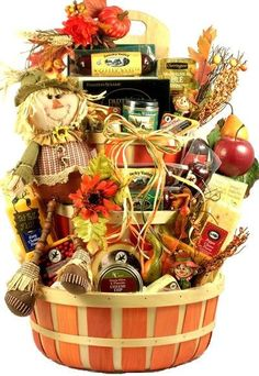 This fall gift basket is spectacular! It has it all; its big; its beautifully adorned with fall enhancements; it's filled with some of our most popular gourmet sausages, artisan cheeses, savory snacks
