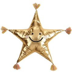 Golden Metallic Star pillow with a fun smilely face and tassels on each end. Chevron Throw Pillows, Fur Throw Pillows, Velvet Pillows, Throw Pillow Sets, Outdoor Throw Pillows, Cute Outfits For Kids, Cotton Pillow, Star Shape, Gold Stars