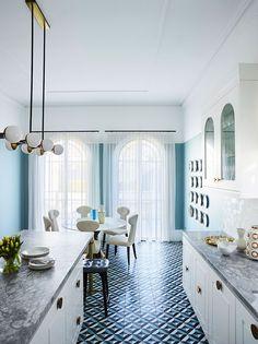 Newtown House Victoria, Australia Blue Walls, House, Interior, Architectural Features, White Ceiling, Bellevue House, Decor Inspiration, Home Decor, Elle Decor