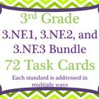 This is three sets of 24 task cards specifically aligned to standards 3.NF.1, 3.NF.2, and 3.NF.3 of the third grade math curriculum (for Common Core). There are a variety of problems for each standard. This is important because an end-of-year test is not going to address one standard with just one type of question. $