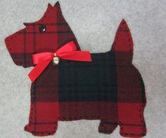 Pillow-Cover-16-034-Scottie-Dog-Plaid-Christmas-Red-Grn-Handmade-Scottish-Terrier