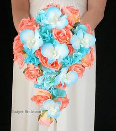 Cascading Brides Bouquet with coral roses, malibu blue tipped orchids, and malibu blue hydrangea -----I like these blue flowers for the bridesmaids' bouquets Wedding 2017, Wedding Themes, Summer Wedding, Wedding Colors, Our Wedding, Wedding Flowers, Dream Wedding, Wedding Decorations, Wedding Beach