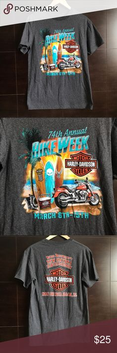 ▪️v i n t a g e| harley davidson t-shirt v i n t a g e| dark gray harley davidson 74th annual bike week. Shirt is from Bruce rossmeyer's new Smyrna Harley davidson. Excellent condition, absolutely no flaws at all. Good color combination. Not too heavy fabric. And it's a size medium :)  #sale #deal #clearance #gift #present #vintage #vtg #retro #freeship #bogo #shopmycloset  #harley  #harleydavidson  #bikeweek  #newsmyrna #florida  #euc #biker #motorcycle #74thannual #gray Harley-Davidson…