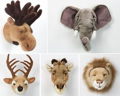 wall deco for kids : lion, reindeer, elephant trophy Kids Bedroom Dream, Dream Kids, Safari Theme Nursery, Nursery Themes, Baby Boy Rooms, Baby Room, Animal Heads, Kid Spaces, Kids Decor