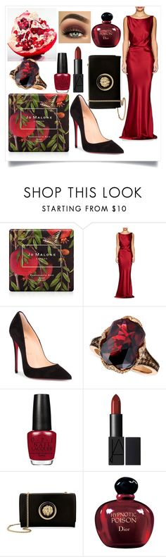 """""""Pomegranate"""" by tristful-fernweh ❤ liked on Polyvore featuring Jo Malone, Nili Lotan, Christian Louboutin, LE VIAN, Versus and Christian Dior"""