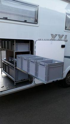 RG Regalbau für Reisemobile RG rack construction for motorhomes Auto Jeep, Van Storage, Camper Storage, Camper Hacks, Motorhome, Accessoires Camping Car, Astuces Camping-car, Hymer, Travel Trailer Camping