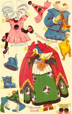 POLLY and MOLLY in Fancy Dress Paper Dolls   Page includes Mother Goose, Pierrette, and Little Boy Blue outfits  5 of 10