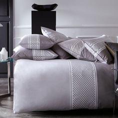 Parure de lit en percale de coton imprimée Points de Douceur Blanc Cerise : Decoclico