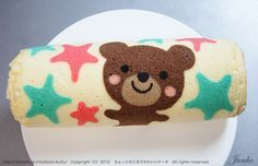 Teddy Bear Cake Roll Not the one I was trying to explain, but same idea. Don't know if it would work for what you were talking about. Swiss Roll Cakes, Swiss Cake, Teddy Bear Party, Teddy Bear Cakes, Japanese Roll Cake, Sponge Cake Roll, Dessert, Patterned Cake, Food Decoration