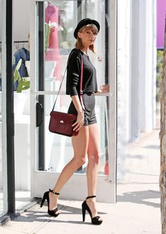 Black high waisted shorts + black top, hat and chunky ankle strap heels + burgundy shoulder bag