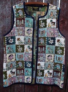 VITABELLA Norway Panel Floral Tapestry Open Front Norwegian Vest womens XL #Vitabella