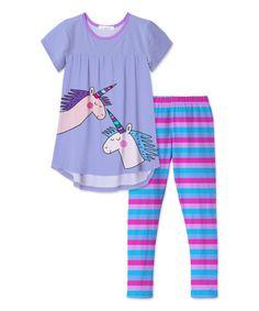 Take a look at this Purple & Pink Unicorn Tunic & Stripe Leggings - Toddler & Girls today!
