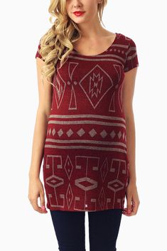 Burgundy-Beige-Tribal-Printed-Knit-Maternity-Top #maternity #fashion #cutematernityclothing #cutematernitytops #falloutfits #falltrends