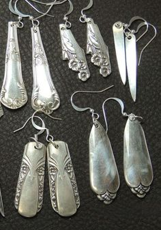 Silverware earrings