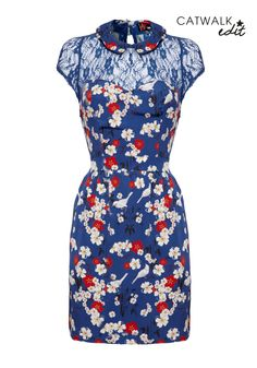 Floral and Lace Dress - Women