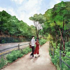Someday... Cute Couple Cartoon, Cute Couple Art, Anime Love Couple, Couple Drawings, Love Drawings, Landscape Drawings, Watercolor Landscape, Liz Clements, Forest Girl