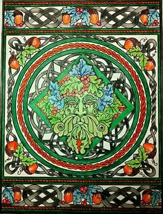 Celtic Design The Green Man Done With Staedtler Ergo Soft Coloured Pencils