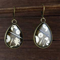 Steampunk drop Earrings drop earrings steampunk by NestreJewellery