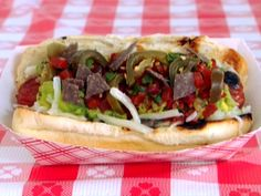 NY Dog recipe from Bobby Flay via Food Network Chef Bobby Flay, Bobby Flay Recipes, Hamburgers, Guacamole, Hot Dog Toppings, Pepper Relish, Burger Dogs, Beef Hot Dogs, Wrap Sandwiches