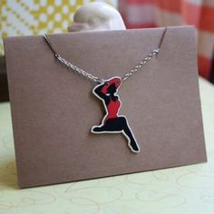 Pin Up Girl Bikini Silhouette Necklace ✋Handmade By Me!✋  This is for our Pinup Girl Necklace!  Perfect Christmas Gift!  ❤️All necklaces are hand drawn, colored and printed on durable thick plastic.  ❤️Sealed with acrylic for long lasting color. ❤️Hand strung on a silver chain with lobster clasps! Jewelry Necklaces