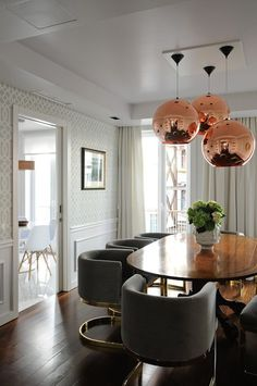 Maria Barros - dining rooms - Tom Dixon Copper Shade, Kelly Wearstler Imperial Trellis Wallpaper in Alabaster, tom dixon lighting, copper sh...