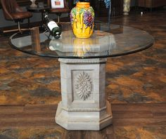 Pedestal Base Dining Table, Glass Top