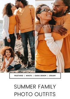 "Mustard, white, and dark navy pop really well in images - especially at the beach! While they typically aren't ""beach"" colors, they complement the background really nicely. Family photoshoot outfit ideas for summer."