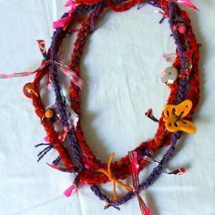 Collier textile multicolore  automnal et original