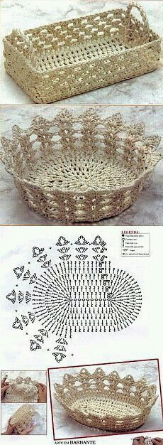 Ideas for basket crochet diagram ganchillo Crochet Bowl, Crochet Art, Thread Crochet, Crochet Motif, Crochet Designs, Crochet Crafts, Crochet Doilies, Yarn Crafts, Crochet Projects