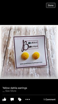 Yellow dahlia earrings