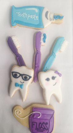 Dental cookies dental themed cookies dental by Cupcaitsandcake - Tooth Decay - Desserts Dental Hygiene School, Dental Assistant, Dental Humor, Dental Hygienist, Dental Cake, Braces Food, Tooth Decay In Children, Decay Art, Graduation Cookies