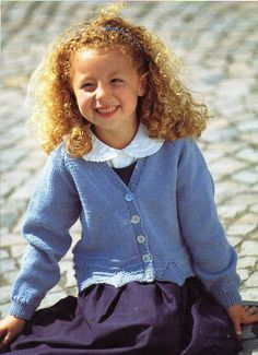 "Girls Cardigan Knitting Pattern Border Detail Jacket V neck Cardigan 22-30"" DK…"