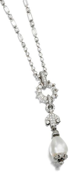 An Art Deco natural pearl and diamond sautoir, Cartier, 1920s. Designed as a natural pearl drop suspended from a surmount of geometric design, set with scissor-, single- and circular- cut diamonds, associated to a necklace set with variously cut diamonds, length approximately 505mm, French assay marks, numbered, signed Cartier Paris. #Cartier #ArtDeco #sautoir