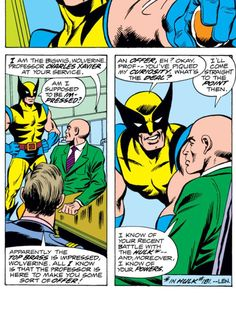 Wolverine recruited by Professor Xavier. (Giant-Size X-Men Vol.1 #1)