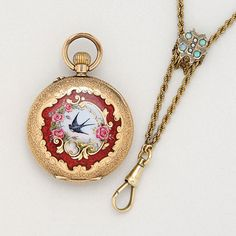 Antique 14K Gold Pendant Watch with Gold Plated Chain, circa 1900