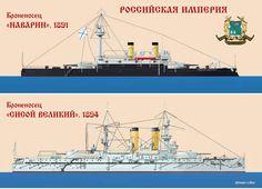 Acorazados Navarin 1896 (botado en 1991) y Sissoi Veliky 1896 (botado en 1994), hundidos en la Batalla de Tsushima en 1905