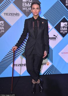 Injured: Ruby Rose explained that she needed a walking stick after tearing her calf muscle while on set filming
