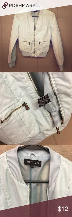 New Look light blue pleather zip up jacket New Look light blue pleather zip up jacket small New Look Jackets & Coats