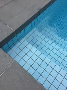 Bluestone pool coping with light blue pool tile. Nadia Gill Landscape Architect