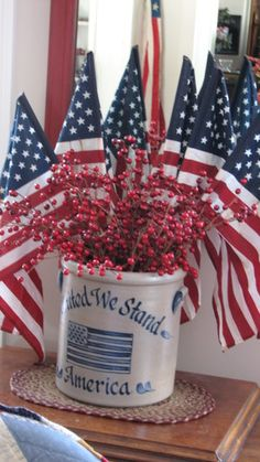 Flags in stoneware container