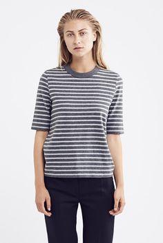 Adda T Shirt - Grey Melange Stripe