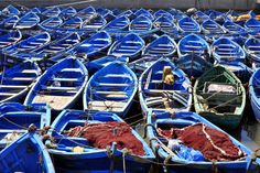 Blue boats in Essaouira, Morocco, one of my long-term dream places.