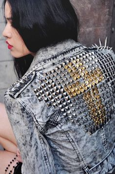 cool studded denim jacket. Love the gold cross