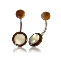 Organic Pearl tamarind wood brown white belly button by chicnet