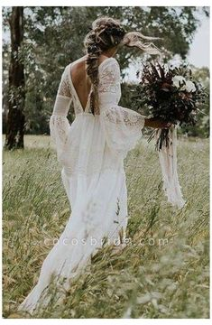 White Boho Dress, White Lace Wedding Dress, Bohemian Wedding Dresses, Long Wedding Dresses, Tulle Wedding, Cheap Wedding Dress, Dress Lace, Spring Wedding, Boohoo Wedding Dress