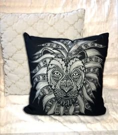 Lion Double-Sided Cotton Pillow - Animal Pillow - Home Decor - Caesar - Tribal Art - Drawing - Black and White