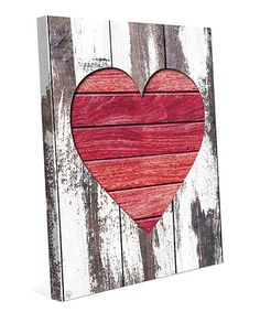 Look at this #zulilyfind! Rustic Heart Wrapped Canvas #zulilyfinds