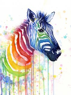 """Zebra Rainbow Watercolor by Olechka   zebra, animals, painting, safari, print, rainbow, watercolor, colorful """"Ode to Fruit Stripes"""". Click through for prints of this artwork (cards, phone cases etc.)!"""